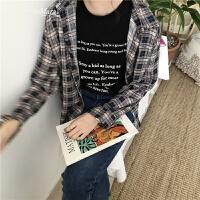 韩国学院风百搭格子衬衫2018春装新款宽松BF长袖开衫外套女 蓝色 均码