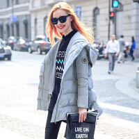MG小象白鸭绒羽绒服女冬2019新款韩版纯色中长款加厚保暖连帽外套