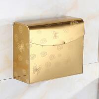 手纸盒 卫生间 不锈钢纸巾盒厕所卫生纸盒洗手间免打孔防水厕纸盒 桔色 K36金蝴蝶