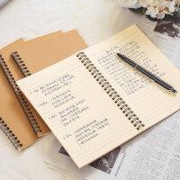 齐心复古牛皮纸笔记本A5双螺旋线圈本加厚记事本笔B5学生用本子日记本装订本80张小清新作业簿包邮CXA580-5