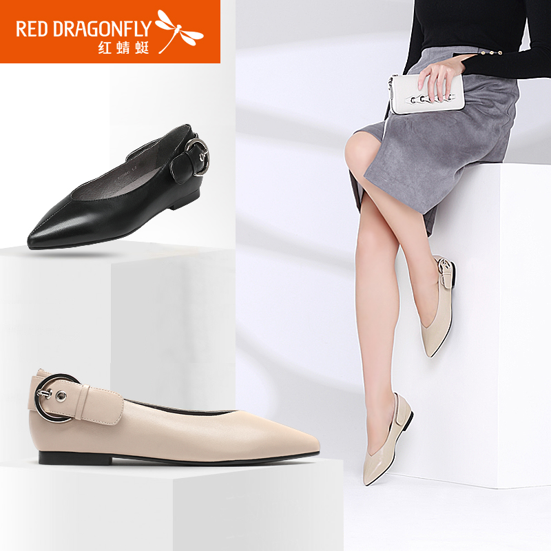 红蜻蜓女鞋2017春季新款平底尖头搭扣女单鞋时尚简约真皮粗跟女鞋