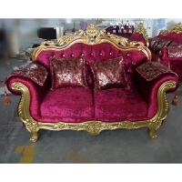 欧式布艺沙发U型客厅组合三人位简欧紫色绒布沙发金色配套大户型