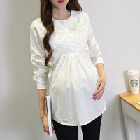 长袖春装孕妇衬衣上衣短款T恤衫春秋装时尚职业孕妇装蕾丝打底衣 白色