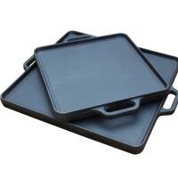 商用家用时尚生铁鏊子烙饼锅大平底铸铁锅无涂层条纹煎锅牛排锅