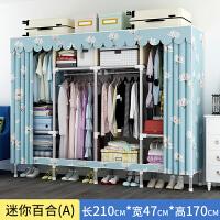 创意衣柜简易布衣柜钢管加粗加厚布艺衣柜收纳架钢架衣柜经济型双人收纳用品 迷你百合长2.1米 加固A款