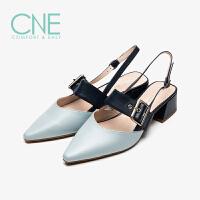 【顺丰包邮,大牌价:329】CNE2019夏季新款凉鞋女仙女风晚晚鞋搭扣玛丽珍鞋女凉鞋AM32501