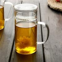 分离式茶杯加厚男女式玻璃杯带把带盖茶水过滤办公室大号绿茶杯泡杯