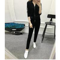 户外新款运动休闲女装天鹅绒运动套装女韩版修身显瘦长袖长裤两件套潮