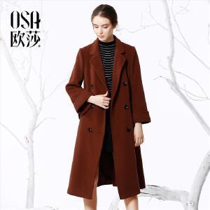 欧莎2017冬装新款女装显瘦时尚保暖毛呢外套