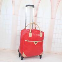 手提拉杆包旅行包男女pu行李包防水大容量万向轮铝合金拉杆旅游包 大