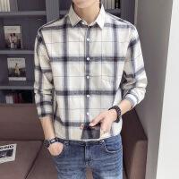 长袖男士韩版修身秋冬季格子衬衣青少年潮流白衬衫学生寸衫打底衫