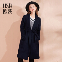 OSA欧莎女装冬装新款休闲简约腰间系带中长款大衣D21122