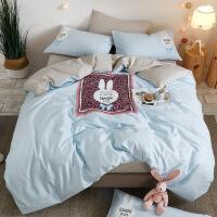 纯棉床上四件套棉宿舍床单四件套床上用品少女心单人床 兔头 天蓝