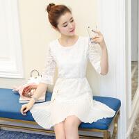 春装新款韩版修身时尚百搭收腰显瘦雪纺七分袖蕾丝连衣裙女