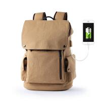 背包双肩包男帆布男士背包大容量旅行双肩包撞色大学生书包电脑包