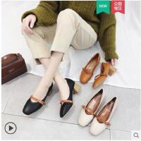 复古单鞋女新款冬季韩版百搭中跟粗跟温柔风仙女鞋奶奶鞋女鞋