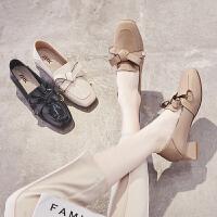 ZHR2019秋季新款时尚粗跟乐福鞋中跟英伦小皮鞋女方头蝴蝶结单鞋