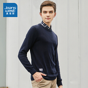 [2件2.5折到手价:42.5元,每满150再减30元/仅限8.23-26]真维斯男装 冬装新款 纯棉圆领纯色长袖线衫