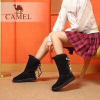Camel/骆驼女鞋冬季新品时尚优雅丝巾装饰舒适保暖低跟雪地靴