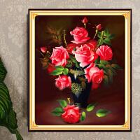 3D精准印花十字绣粉色玫瑰5D魔方钻石画圆钻贴钻石绣新款客厅卧室书房简约现代花卉花草欧式砖石绣系列
