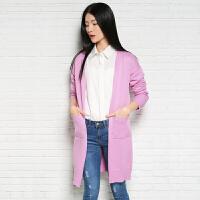 2018春季新款女士中长款纯羊绒衫针织衫毛衣厚款羊绒开衫外套