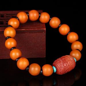 蜜蜡满蜡苹果珠创意DIY串款手串 配南红桶珠