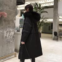 2018冬季新款韩版宽松口袋时尚羽绒服女中长款大毛领加厚保暖外套