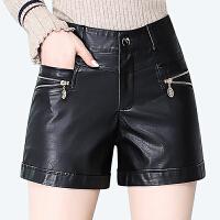 2019新款大码皮短裤女秋冬皮裤子直筒黑色外穿修身高腰靴裤