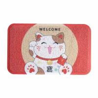 日式猫卡通可爱地垫圈丝刮泥进门门垫家用门口入户脚垫防滑垫