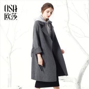 OSA欧莎2017冬装新款时尚翻驳领毛呢外套