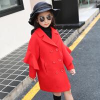 女童呢子外套秋新款红色毛呢大衣加厚2016中大童女中长款韩版潮 红色