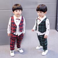 百槿 2018春季男童格子领结马甲西服三件套 1-5岁身高70-120个小西服套装
