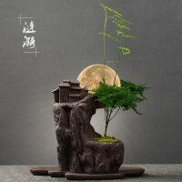创意盆栽盆景仿古紫砂花盆 室内桌面个性绿植大号透气花器带托盘 中等