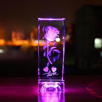 水晶玫瑰花3D内雕照片摆件 结婚礼品创意男生送女朋友礼物