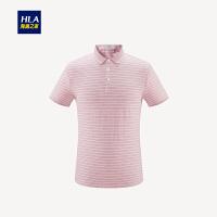 HLA/海澜之家舒适条纹短袖POLO2019夏季新品翻领半开襟POLO男