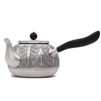 日式铁树花树侧把银壶纯手工990足银银壶日本银壶茶具纯银功夫茶具 泡茶壶烧水壶茶壶茶具