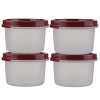 特百惠200ml QQ盒迷你圆罐MM干货储藏盒密封零食便携小盒子红色盖子四件套
