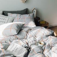 简约床上四件套棉纯棉被套1.8m床水洗棉双人格子床单被罩三件套