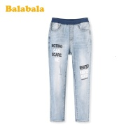 巴拉巴拉儿童裤子男童2020新款童装中大童长裤洋气印花牛仔裤时尚