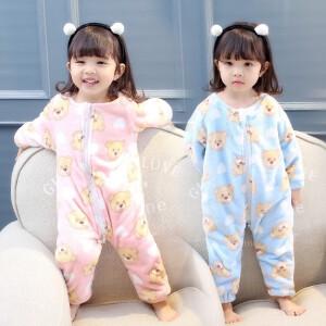 百槿 冬季儿童加卡通印花连体睡衣 中小男女童连体睡衣
