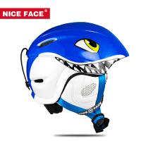 滑雪头盔儿童鲨鱼款男女儿童滑雪头盔雪盔单双板滑雪护具