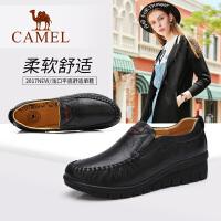 camel骆驼真皮单鞋 平底浅口休闲女鞋 简约舒适女士鞋子中老年奶奶皮鞋