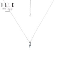 ELLE项链 一叶知秋系列 S925银红宝石镀铑吊坠 礼物送女友