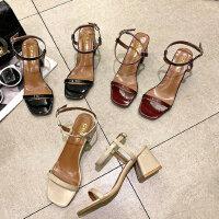 新款百搭一字带凉鞋女 晚晚风女士凉鞋鞋粗跟潮流单鞋女时尚外穿中跟凉鞋