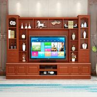 实木电视柜组合墙柜高款现代简约客厅家用新中式电视背景柜小户型 组装