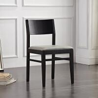 现代简约全实木餐椅白蜡木原木休闲皮艺家用餐厅整装靠背椅子