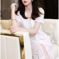 白色蕾丝连衣裙夏2021新款收腰显瘦修身法式刺绣花朵棉中长款裙子