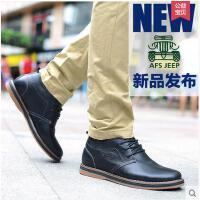 Afs Jeep/战地吉普男鞋英伦中帮皮鞋休闲鞋内增高系带真皮潮鞋子2086