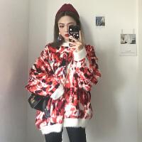 秋冬韩版慵懒风晕染毛绒绒加厚宽松长袖套头毛衣针织衫上衣外套女