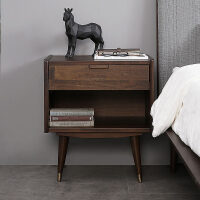 北欧实木家具中古风单抽床头柜收纳抽屉储物柜矮柜角几卧室床边柜 常规 组装
